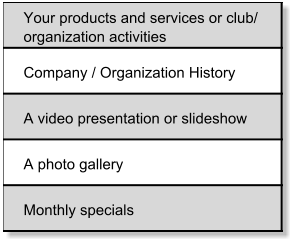 Your products and services or club/  organization activities Company / Organization History A video presentation or slideshow A photo gallery Monthly specials